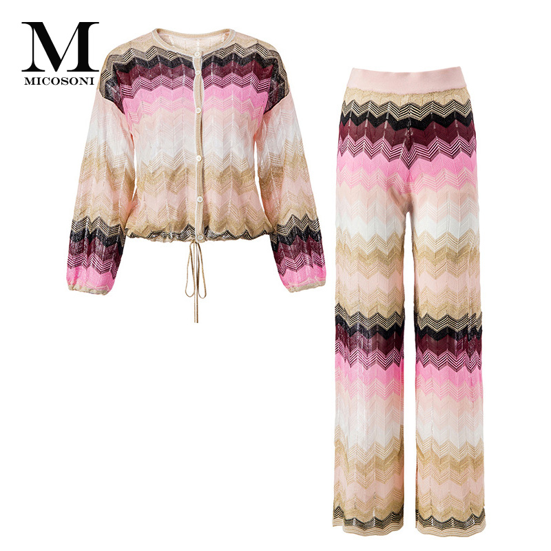 Micosoni Top High Quality Italianate Colorful Stripe Woven Knitted Lantern Sleeve Sweater Trousers Suit Women s