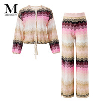 Micosoni Top High Quality Italianate Colorful Stripe Woven Knitted Lantern Sleeve Sweater + Trousers Suit Women's Two Piece Sets