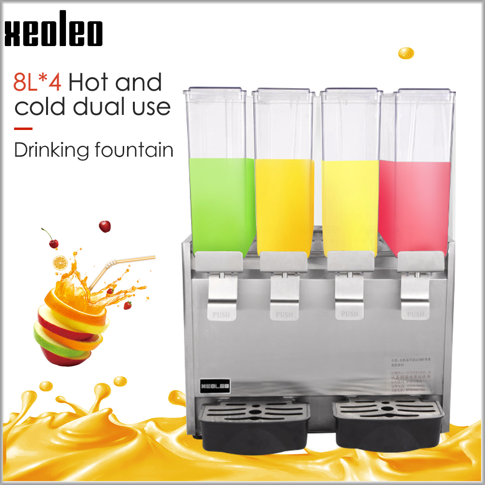 XEOLEO Commercial Juice Dispenser  Drink Dispenser Four Tanks Hot Cold Drinks Maker Automatic Fruit Dispenser Beverage Machine