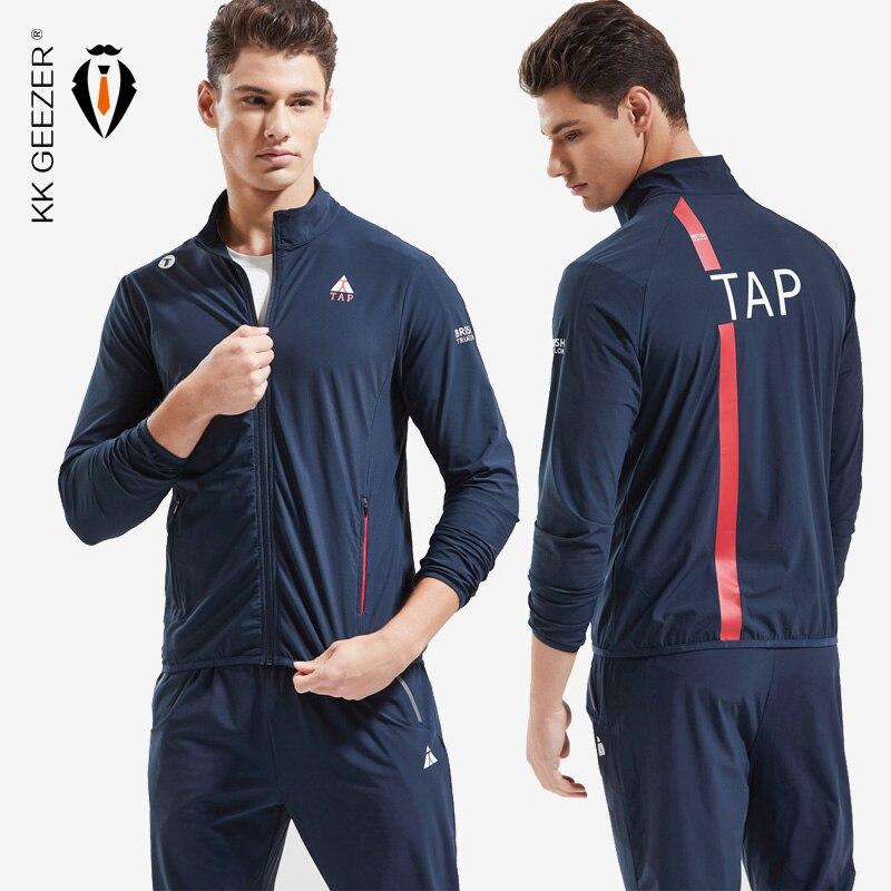 Men Jacket Sets Sweatshirts Zipper Fitness Overcoat Breathable Autumn Sportswear High Quality Jacket Outerwear (Jacket+Pants)