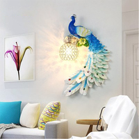 Modern Crystal Wall Light Blue Peacock Fixture Resin Wall Sconce For Hotel Bedroom Bedside Dining Room Home Wall Lighting B287