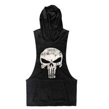 2016 New Brand Skull sleeveless Shirt Casual Fashion Hooded Gyms font b Tank b font font