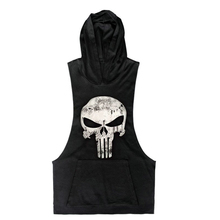 2016 New Brand Skull sleeveless Shirt Casual Fashion Hooded Gyms Tank Top Men bodybuilding Fitness Brand Clothing