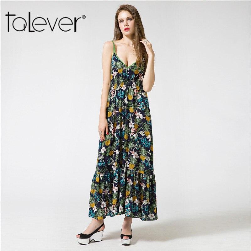Talever Vintage Summer Dress Women Sundress Sexy Backless Floral Print Maxi Dress 2017 Beach Dress Strappy Vestidos de festa