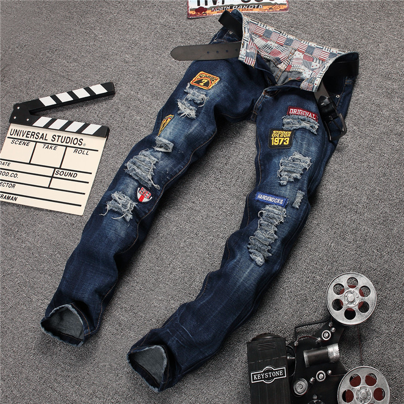 2016 Designer Ripped Jeans High Quality Biker Badge Jeans Brand Clothing Men Casual Skinny Elastic Pants