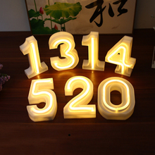 LED Digital Night Light Creative 10 Numbers Battery Powered / USB Neon Lamp Romantic Wedding Christmas Party Decoration
