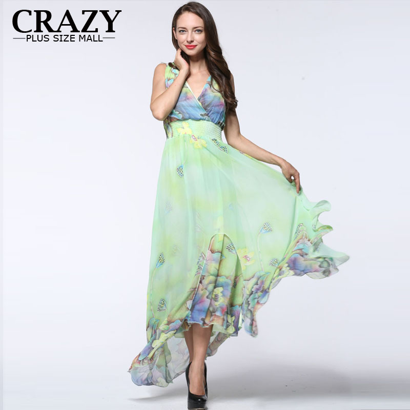 Big Size L-7XL Maxi Dress 2019 Plus Size Dresses Sexy V-neck Elegant Beach Chiffon Dress for Women 7XL 6XL 5XL 4XL