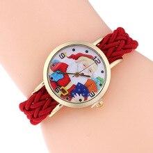 Regalo de navidad Reloj Children'sWatch Reloj Reloj Pulsera de Cuarzo de Las Mujeres Relogio Feminino Niños Niñas Reloj de Santa Claus