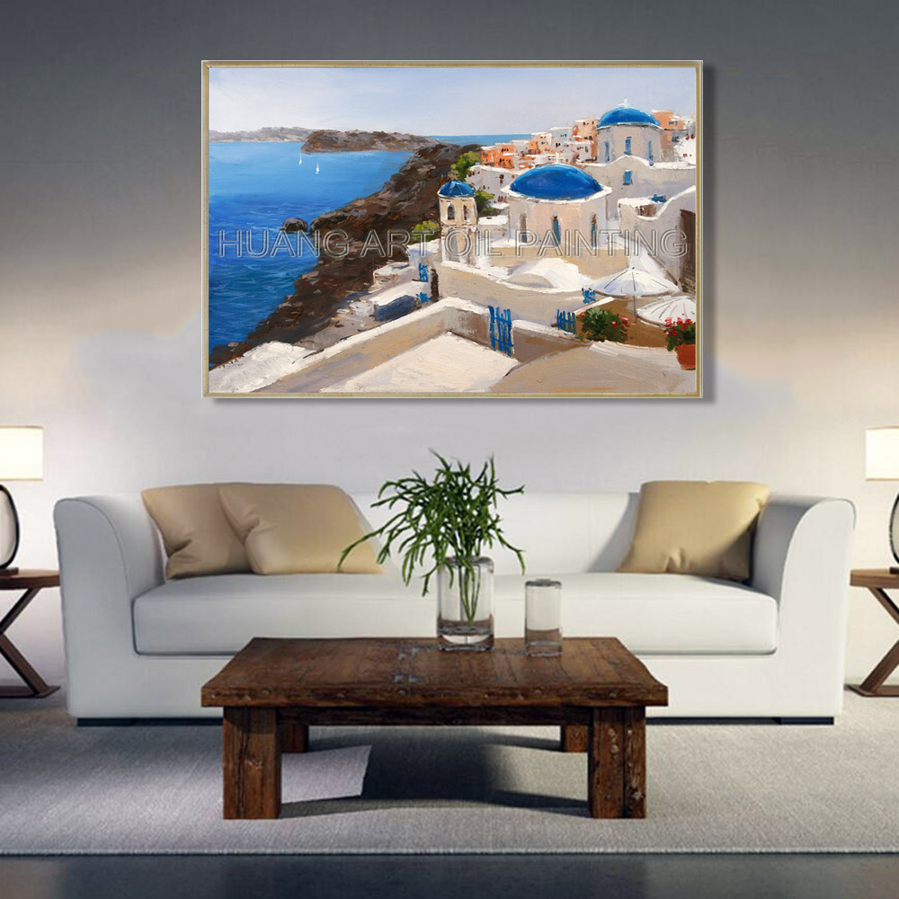 Santorini Greece Landscape Oil Painting Artist Hand painted High Quality Greek Aegean Sea Oil Painting for Living Room Decor in Painting Calligraphy from Home Garden