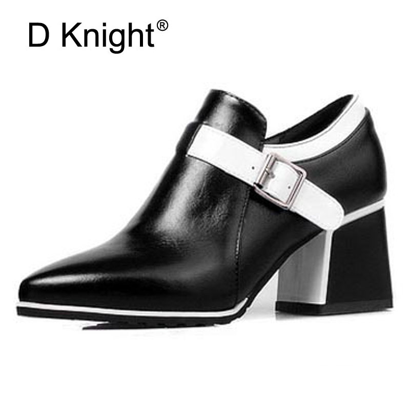 New 2017 Vintage Color Block Pu Leather Pointed Toe High Heels Women Shoes Fashion Low Heels Women's Shoes Ladies Casual Pumps women ladies flats vintage pu leather loafers pointed toe silver metal design