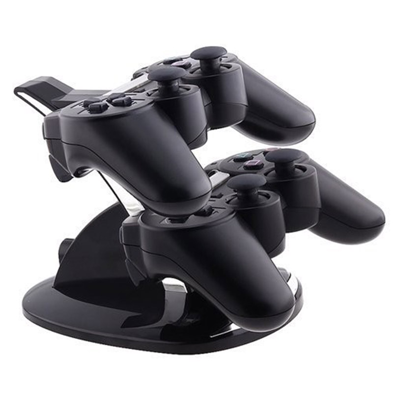 HAOBA LED Dual USB Charging Charger Dock Stand Cradle Docking Station for  Playstation 3 PS3 Game Gaming Console Controller