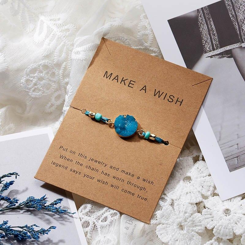 Для женщин браслеты на удачу бисера красная строка натуральный камень ткань браслеты мужчин ручной работы интимные аксессуары с карты - Окраска металла: blue