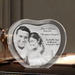 تخصيص شكل قلب الليزر محفورة الكريستال ألبوم صور زفاف الأسرة إطار صور لعيد الحب هدايا المناسبات
