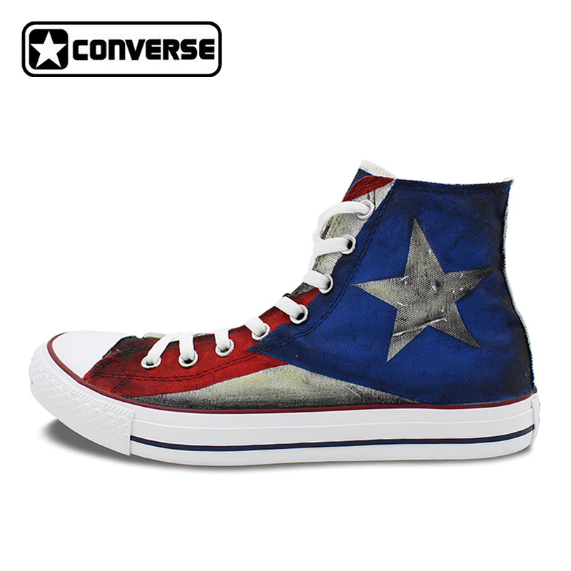 3ee98fcc5cb6 USA Puerto Rico Flag Converse All Star Custom Design Hand Painted Shoes Man  Woman High Top
