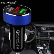 YWEWBJH Dual USB Car Charger LED Display Quick Charge 3.0 Moblie Phone Fast Charging for iPhone For Samsung