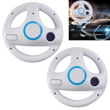 2pcs Steering Wheel For Mario Kart Game Racing Wheel Controller For Nintendo Wii White Racing Games Remote Controller Console