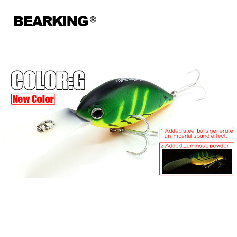 Bearking Bk17-C28 deep Crank Fishing Lures 1PC 65mm 16g hot jointed Hard Bait With 2 Hooks Fishing Tackle Bait Casting Lure