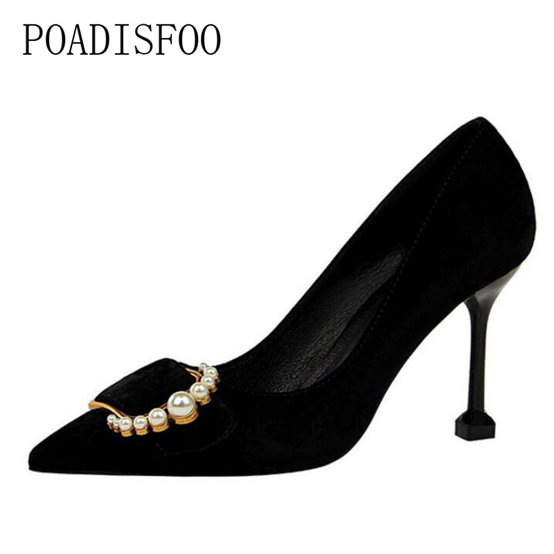 POADISFOO spring/autumn women Pumps Solid Pointed Toe Shallow Pearl Suede High-heeled shoes wedding party for ladies .PSDS-278-2 siketu 2017 free shipping spring and autumn women shoes fashion sex high heels shoes red wedding shoes pumps g107