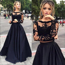 2016 New Two Pieces Black Lace Prom Dresses Long Sleeves Top Satin A line Boat Neck Floor Length Evening Gowns JB862