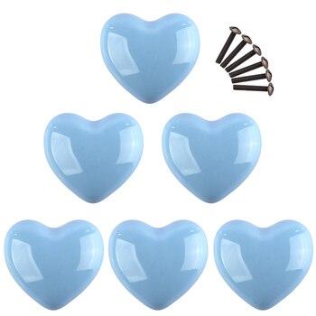 6 Pçs Conjunto Coração Forma Cerâmica Maçaneta Da Porta Móveis Lidar Com Gaveta Armário Da Cozinha Puxador