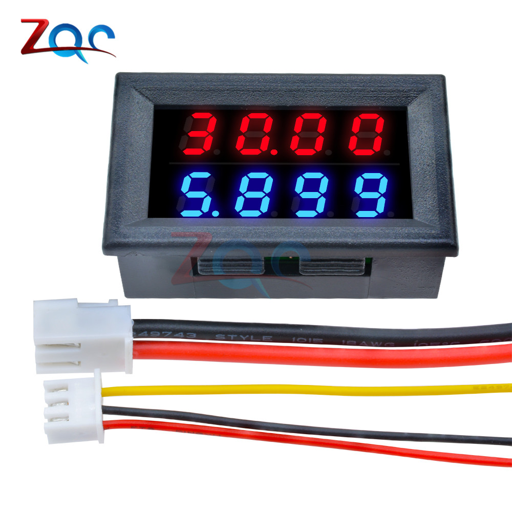 0.28 Inch Digital DC Voltmeter Ammeter 4 Bit 5 Wires DC 100V 10A Voltage Current Meter Power Supply Red Blue LED Dual Display