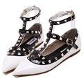 2016 Новый Эксклюзивный релиз Женская Обувь Острым Носом Квартиры Sexy Заклепки женские Плоские ботинки