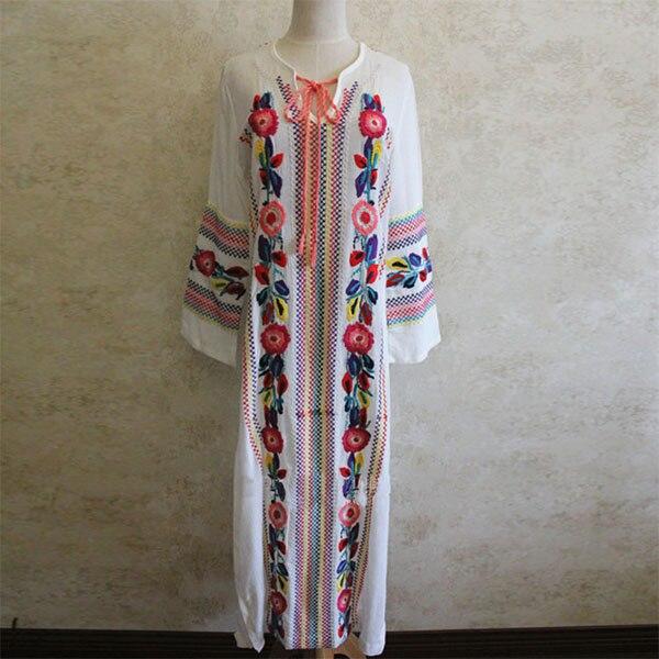 Frauen Lange Ethnische Vintage Blume Stickerei Baumwolle Lose Strand - Damenbekleidung - Foto 5