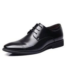 Новинка 2017 г. платье в деловом стиле Мужская деловая обувь свадебные острый носок Модная обувь из натуральной кожи Туфли без каблуков Оксфордские туфли для мужчин