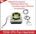 High Power 50W CPU Fan Heatsink+44mm/57mm 60 degree Optical lens+Reflector+Fixed Bracket+Fan Power Supply For 50-70w Led Lamp