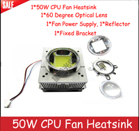 High Power 50W CPU Fan Heatsink+44mm/57mm 60 degree Optical lens+Reflector+Fixed Bracket+Fan Power Supply For 50 70w Led Lamp