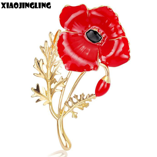 Xiaojingling Wedding Red Poppy Flower Brooches Pins Kate Princess