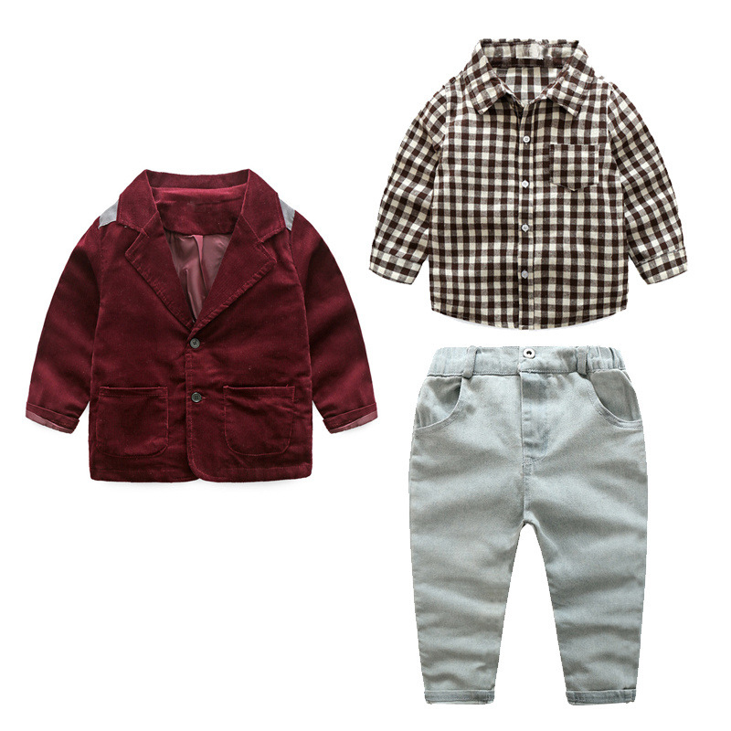 2018 Infant Toddler Boys Clothing Set Casual Children Boy Gentleman Suit Jacket+shirt+Denim Jean Pants 3pcs Clothing Sets 2 7T