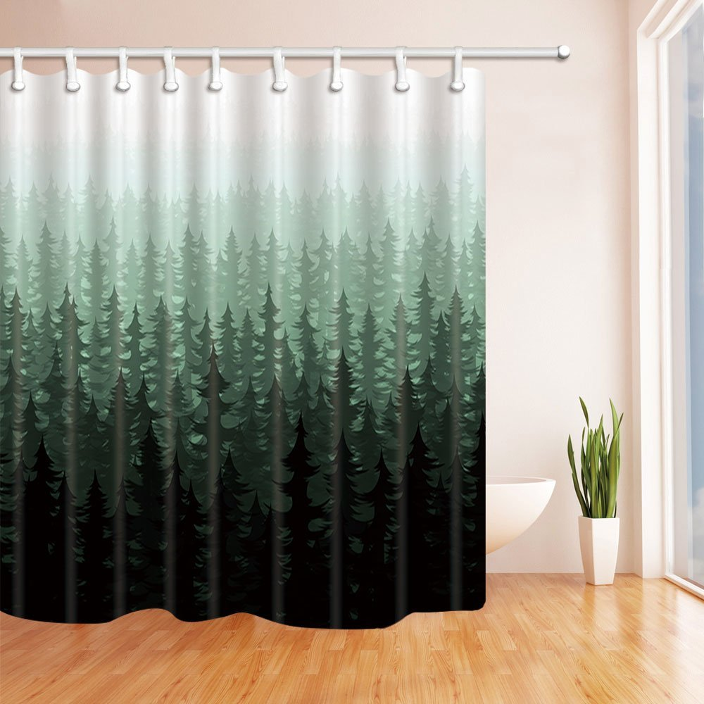 Nature Forest Landscape Decor Watercolor Pine Trees Shower Curtains For Bathroom Polyester Fabric Waterproof Bath Curtain In From Home