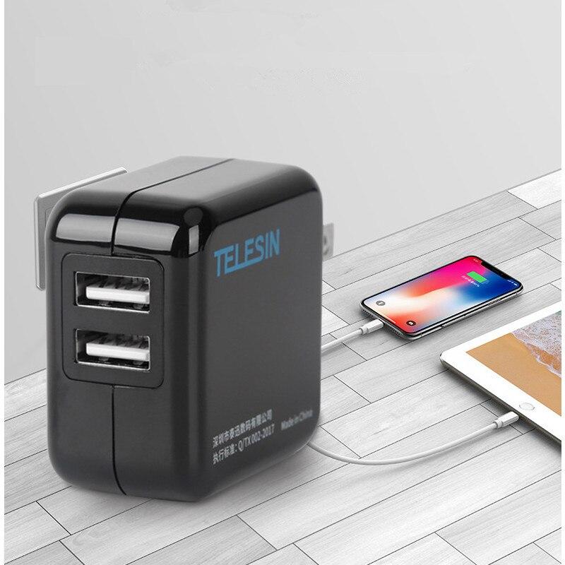 Портативный США штекер 2100mA двойной порт USB зарядное устройство адаптер 100-240 В для Gopro Hero Xiaomi Yi S порт s камера для телефонов Аксессуары