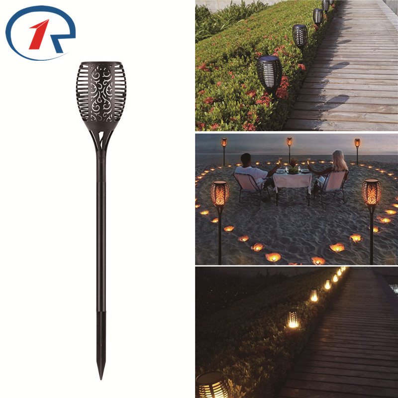 ZjRight 96 LED Solar garden light Path Torches Dancing Flame Flickering Lights Waterproof Outdoor Landscape restaurant park Lamp