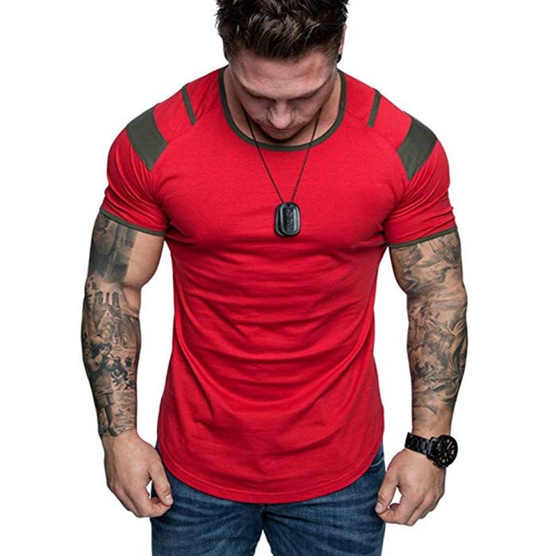 Newest Summer Splicing Short Sleeve Cotton T Shirt Men Casual O-neck Hip Hop T-shirt Top Men Loose Slim Tees Tops US Size M- 3XL