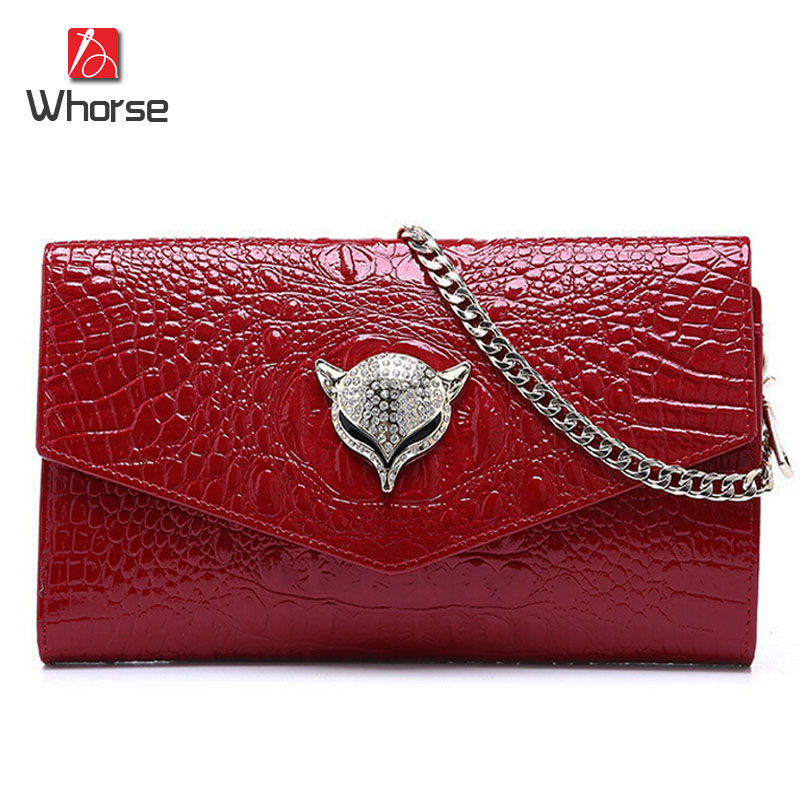 ФОТО [WHORSE] Brand Logo Crocodile Womens Genuine Leather Satchel Cross Body Shoulder Messenger Bag Chain Handbag Clutch Classic