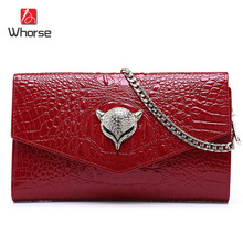 [WHORSE] Brand Logo Crocodile Womens Genuine Leather Satchel Cross Body Shoulder Messenger Bag Chain Handbag Clutch Classic