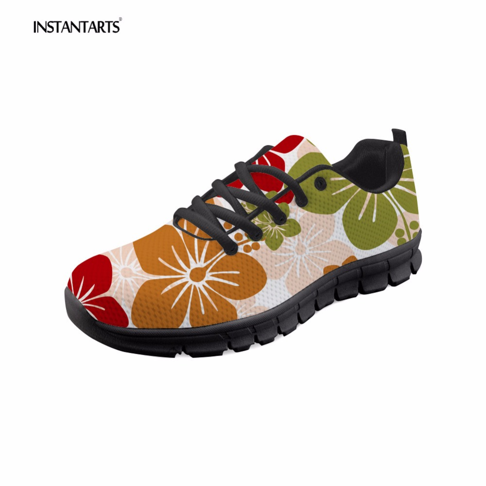 INSTANTARTS Floral Flower Pattern Women Sneakers Spring Casual Lace Up Flats Shoes Comfortable Mesh Student Flat Shoes Zapatilla
