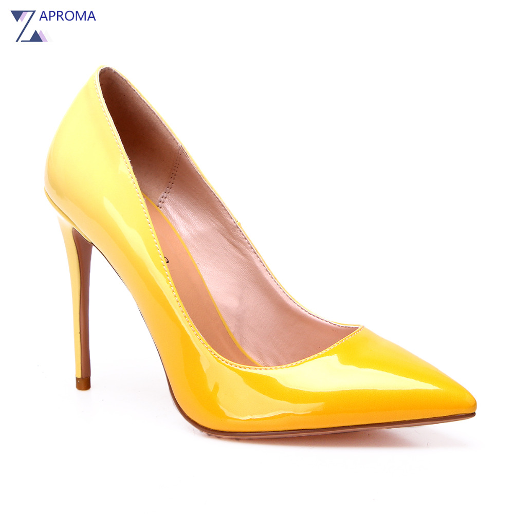 Ladies Thin Heel Gradient Party Pointed Toe Pumps Spring Slip On Women Office Super High Heel Shoes Hot Pink Bridesmaid Stiletto trendy thin heel pointed toe women polka dot pump spring slip on high heels black white stiletto 2018 brand fetish factory shoes