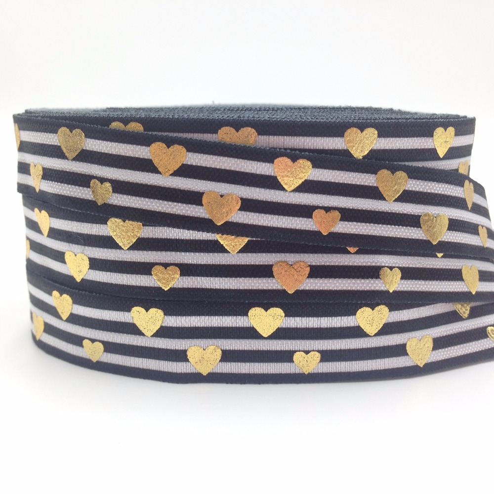 High Quality Gold Foil Love Heart Fold Over Elastic Black Stripe Print 5/8 FOE Ribbon For Elastic Hair Band Hair Accessory 10Y
