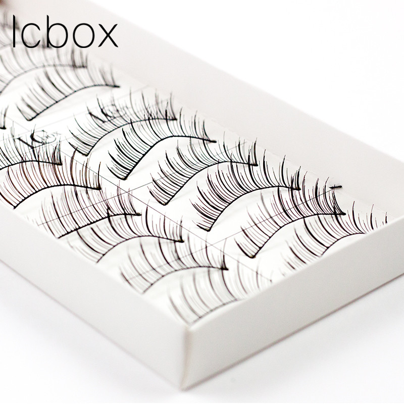 LCBOX brand 10 pairs/Lot human Hair Natural Long Hand Made false eyelashes maekup Eye Lashes Extension kit