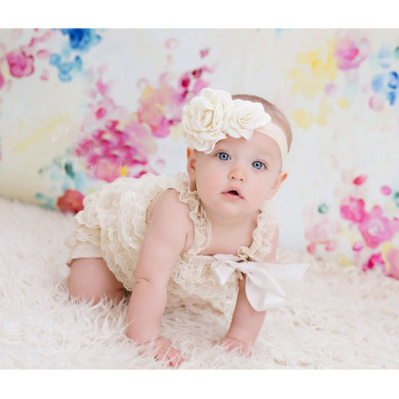 1d2e9f7e44d3 Hot Retail Baby Ivory Lace Romper Infant Toddler Petti Ruffled Strap Rompers  One Piece with Flower Headband Set Newborn Jumpsuit-in Rompers from Mother  ...