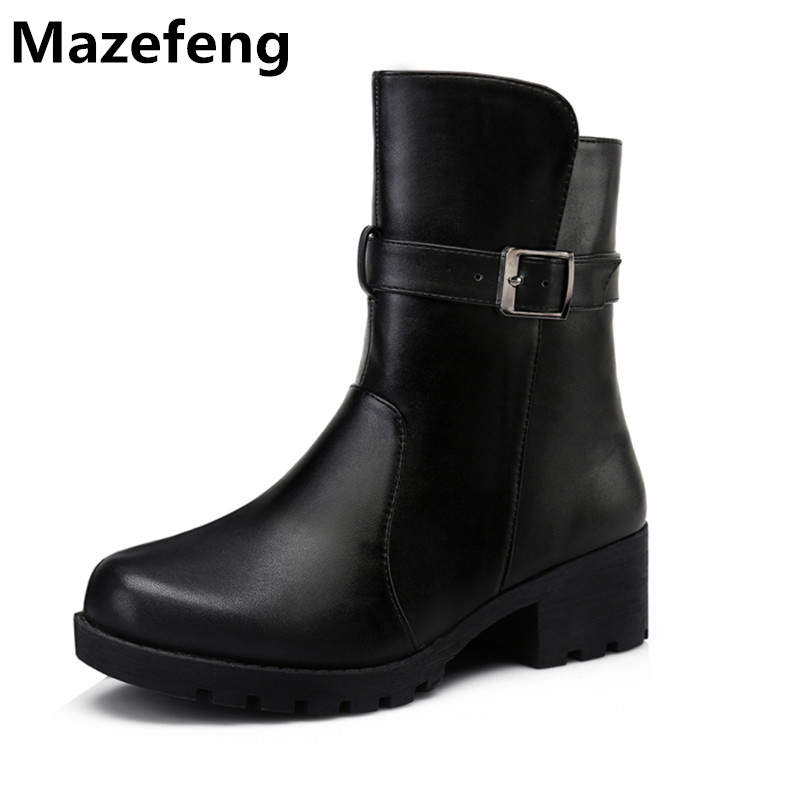 New Brand Fashion Winter Boots Women Thick Genuine Leather Cotton Shoes Woman Martin Boots Warm Zapatos Mujer W001 euro fashion women winter botas mujer genuine leather martin mou boots shoes woman pointed toe low heels zapatos mujer huarache