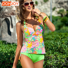 Купить с кэшбэком 2018 New Floral Two Pieces Suit Bikini Women Swimsuit Halter Push Up Bathing Suit S-L Low Waist Backless Trikini Swim Beachwear