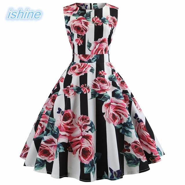 0173004f3a 50s 60s Rockabilly Sleeveless Dress Women Flower Printing Vintage Hepburn Style  Swing Pinup Retro Housewife Party Dress Gown
