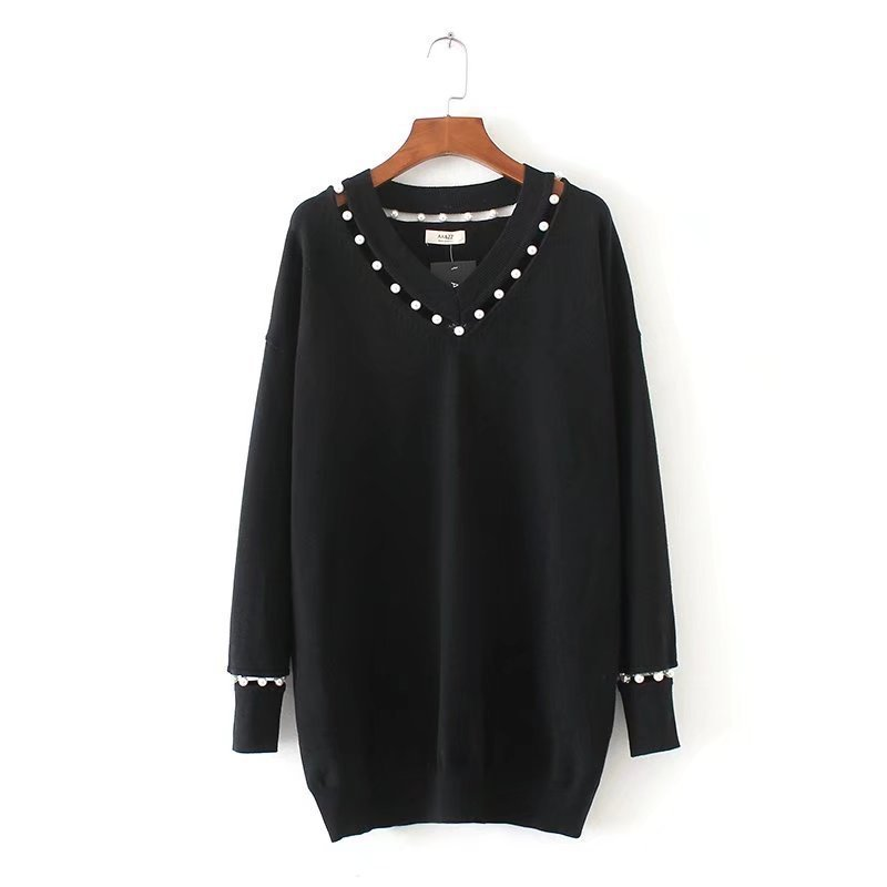 V Black Decoration Knitted Pearl Black Hollow Long Tops Female Neck Sleeve Red Casual Knitwear Sweaters Design red Women Sweater HZ0q4wFq