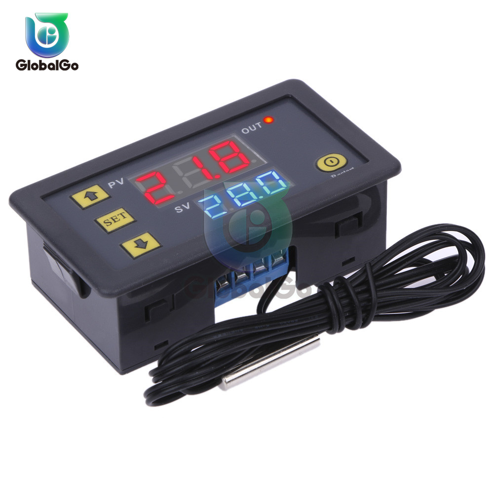 W3230 LED Digital Thermostat Temperature Control DC 12V AC 110V 220V 20A Mini LED Display Thermostat Waterproof Probe