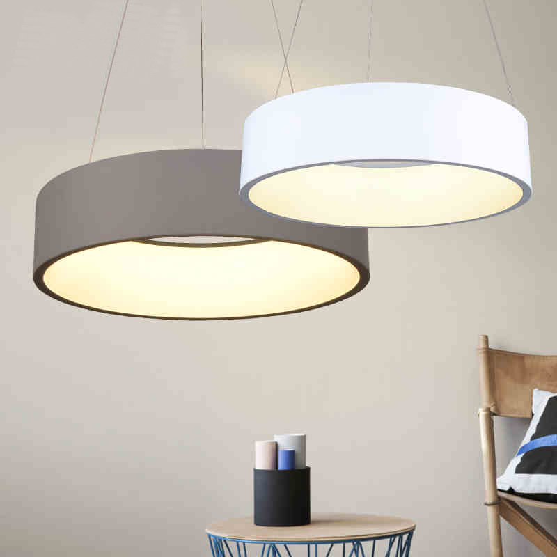 Minimalism hanging modern led pendant lights for dining for Luminaire suspension sejour
