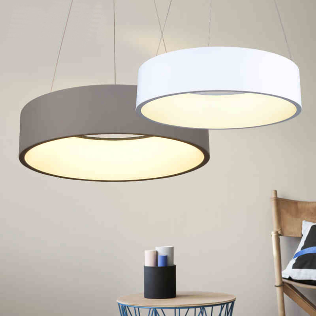 Minimalism hanging modern led pendant lights for dining for Suspension inox
